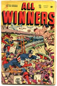 All Winners #15 1945- Captain America- Sub-Mariner- Schomburg WWII cover G+