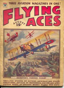 Flying Aces 8/1934-Philp Strange-hero pulp-Donald E Keyhoe-famous cover-VG-