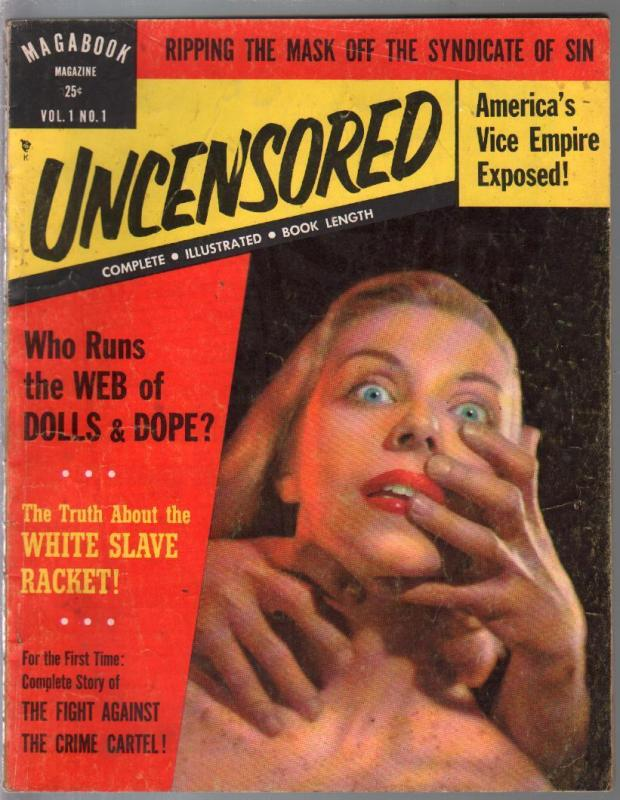 Magabook Magazine-Uncensored-#1  6/1953-1st issue-strangulation-dope slave-VG