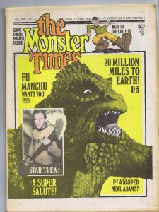 ORIGINAL Vintage 1973 The Monster Times Horror Newspaper Magazine #210 Star Trek