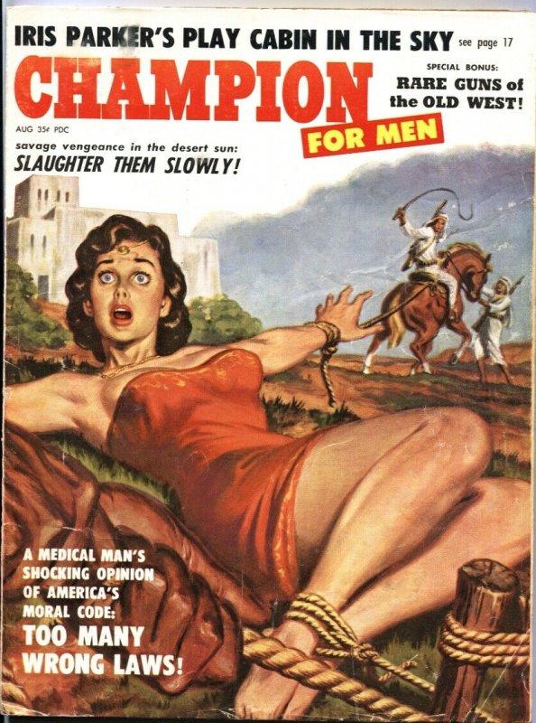CHAMPION FOR MEN-AUG 1959-FEMALE BONDAGE TORTURE-PULP-CHEESECAKE PIX