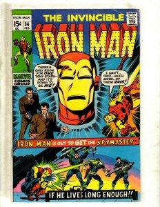 Iron Man # 34 FN Marvel Comic Book Avengers Hulk Thor Captain America J462