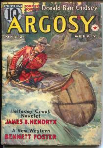 Argosy 5/21/1938-Munsey-Emmett Watson-RCMP Mountie-canoe-pulp adventure-VG+