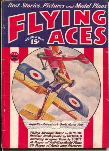 Flying Aces 11/1933-Patriotic cover-1st issue format change-Philp Strange-VG