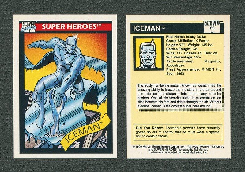 1990 Marvel Comics Card  #22 (Ice Man) / MINT