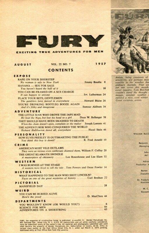 Fury Magazine August 1957- JAYNE MANSFIELD- Elvis VG