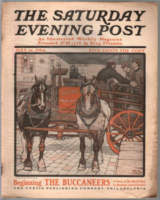 Saturday Evening Post 5/14/1904-E. Penfield cover-vintage ads-VG