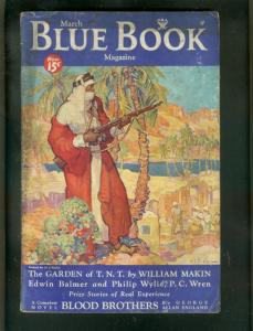 BLUE BOOK PULP-MARCH 1934-PC WREN-BLOOD BROTHERS-SCI FI VG