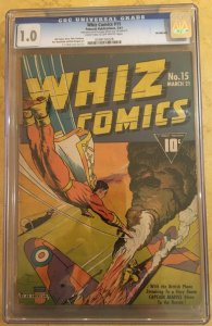 WHIZ COMICS #15 CGC 1.0 -- ORIGIN OF SIVANA! WWII WAR COVER! C.C. BECK! SHAZAM!