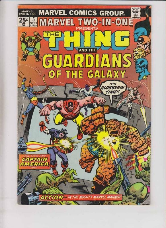 Marvel Two-In-One #5 FN guardians of the galaxy - w/marvel value stamp - thing