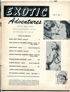 Exotic Adventures Magazine #1 1958- Abortion Craze- Women Wrestlers