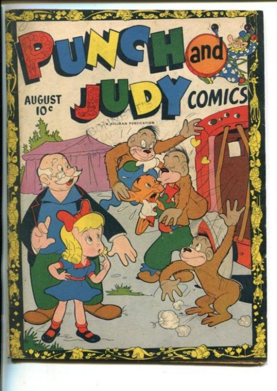 PUNCH AND JUDY VOL 2 #1-1946-HILLMAN-MONKEY COVER-SLAPSTICK HUMOR-vg