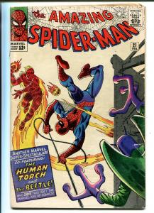 AMAZING SPIDER-MAN #21 1965-MARVEL-STEVE DITKO-HUMAN TORCH-BEETLE-vg+