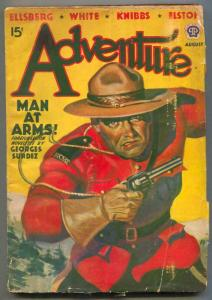 Adventure Pulp August 1939- RCMP- Man At Arms VG