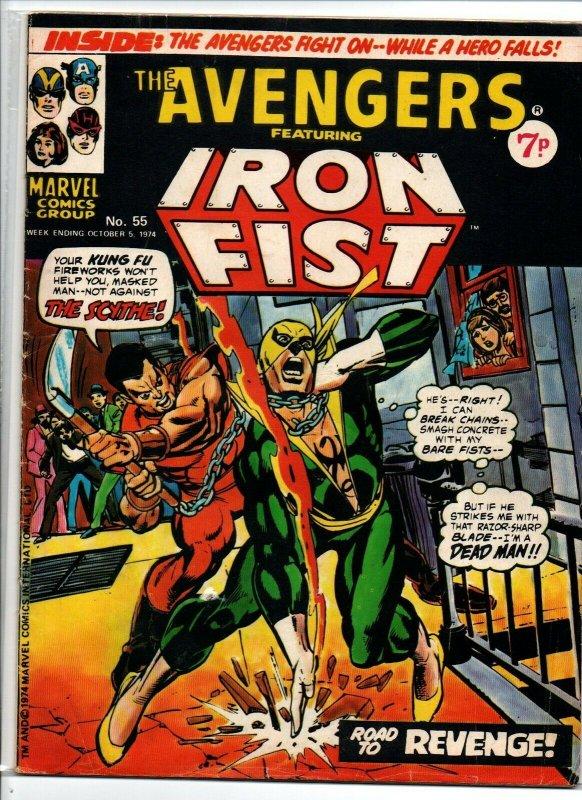 Avengers #55 - Iron Fist - Marvel UK - Magazine Size - 7p - 1974 - FN