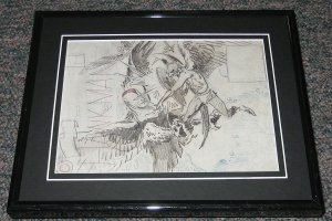 1962 Brave and the Bold #43 Framed Hawkman Cover Sketch Official Reproduction
