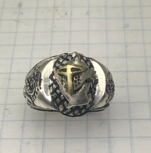 Knights of Hearts Dragon 10k Gold accented Sterling Silver Signet ring