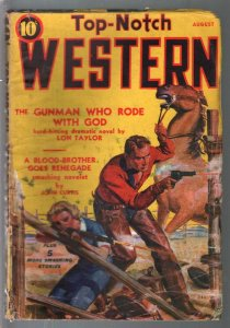 Top-Notch Western 8/1939-J W Scott GGA cover-western pulp thrills-G/VG