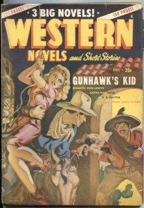 WESTERN NOVELS & STORIES--DEC 1947--SPICY GIRL ART PULP COVER--ALLEN ANDERSON