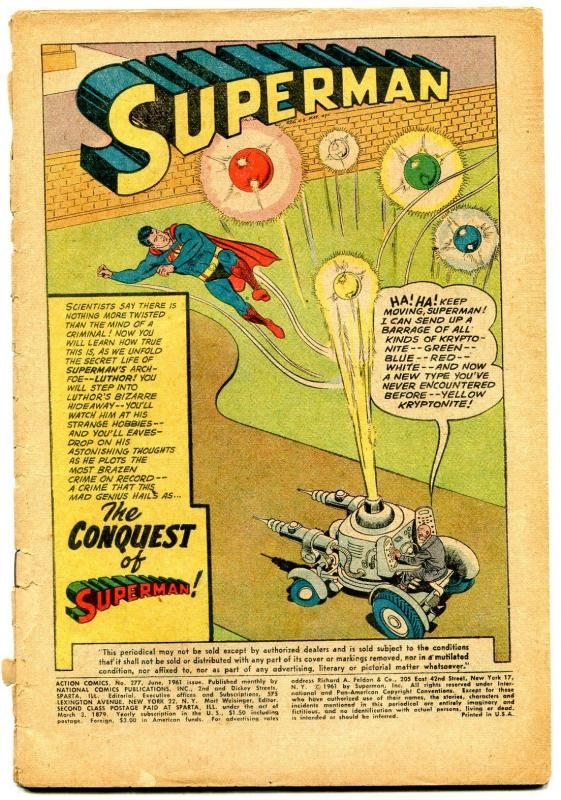 Action Comics #277 1961- Superman- Supergirl- -Coverless reading copy