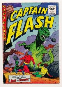 Captain Flash (1954 Sterling) #3 VG/FN Dinosaur cover, Tomboy, Sharkmen+++