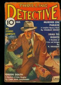 Thrilling Detective March 1937- Tom Curry - Belarski cover- VG+