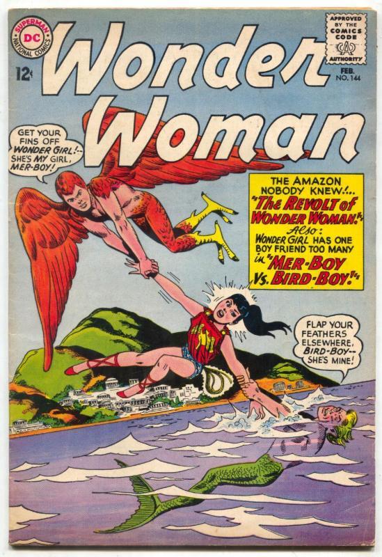 WONDER WOMAN #144 AMAZON WOMEN FIGHT & POSE  DC  1964 FN