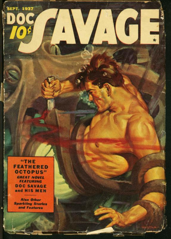 DOC SAVAGE PULP-1937 SEPT-DOC FIGHTS OCTOPUS UNDERWATER FR