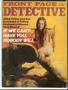 FRONT PAGE DETECTIVE-JULY/1973-FATAL LOVE TRIANGLE-GHOSTS-GATOR-BAITED G