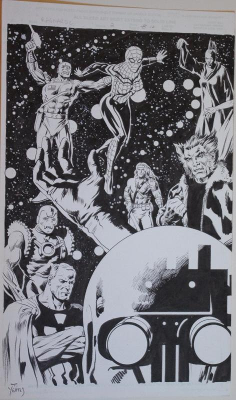 TOM YEATES original art, RAGNAROC #2, Double Splash pgs, 10.5x17 ea, WOlverine
