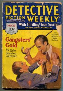 Detective Fiction Weekly Pulp November 15 1930- Gangster's Gold