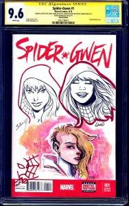 Spider-Gwen #1 BLANK CGC SS 9.6 signed SKETCH JAM Land Bagley Rodriguez Latour