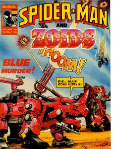 Spider-Man and Zoids UK Comics Magazine Vol. 2 No. 7 April 19 1986 Blue Murder!