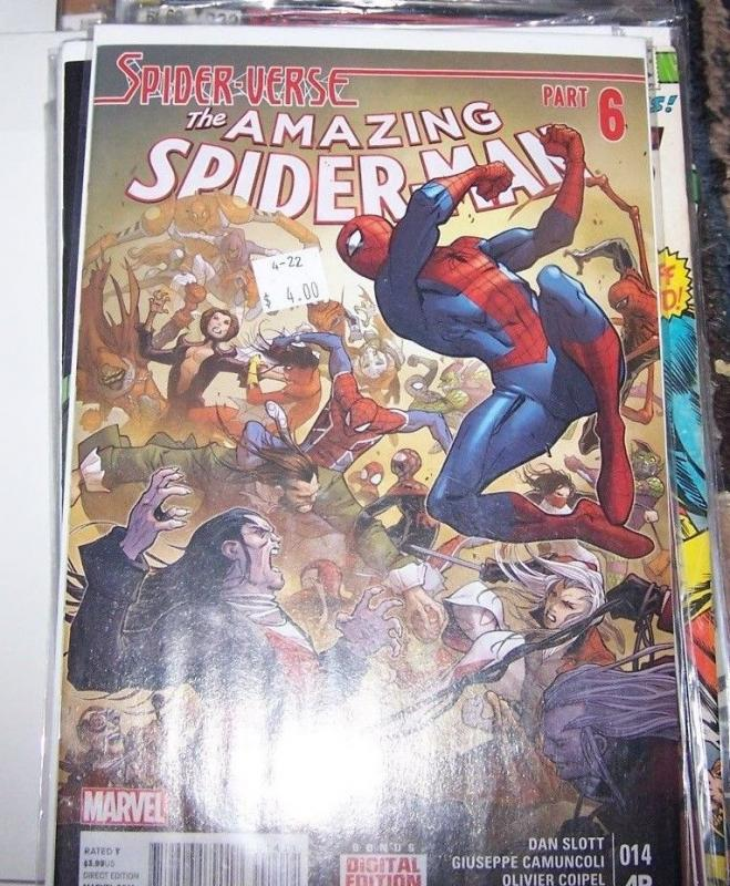 Amazing Spider-Man # 14 (April 2015, Marvel) spider verse pt 6 spider gwen silk
