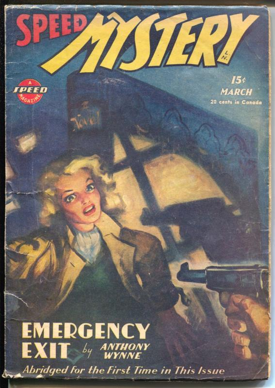 Speed Mystery 3/1946-Trojan-German Luger-Anthony Wynne-hard boiled pulp-VG