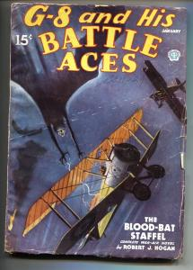 G-8 and His Battle Aces Pulp January 1936-Aviation hero pulp- VG