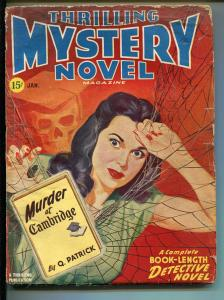 THRILLING MYSTERY NOVEL 01/1947-SPIDER WEB-SKULL-HARD BOILED PULP-good