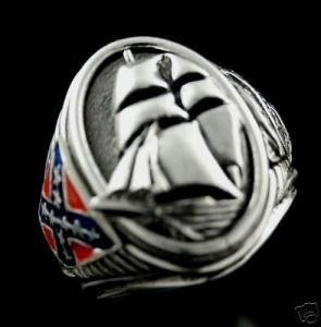 CSS Alabama Confederate Raider ring sterling silver