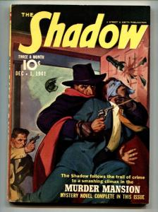 SHADOW 1941 DEC 1-high grade- STREET AND SMITH-RARE PULP vf+