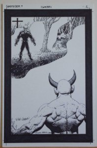 RICHARD CORBEN original art, GHOST RIDER #7 pg 2, Signed, vs SATAN, Splash page