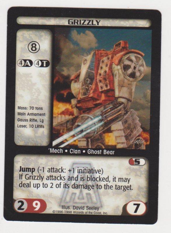 1998 Battletech Arsenal Card Grizzly