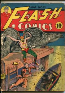 FLASH #15-1941-DC-HAWKMAN-SHELLY-HOODED HORROR-KING-WHIP-good/vg