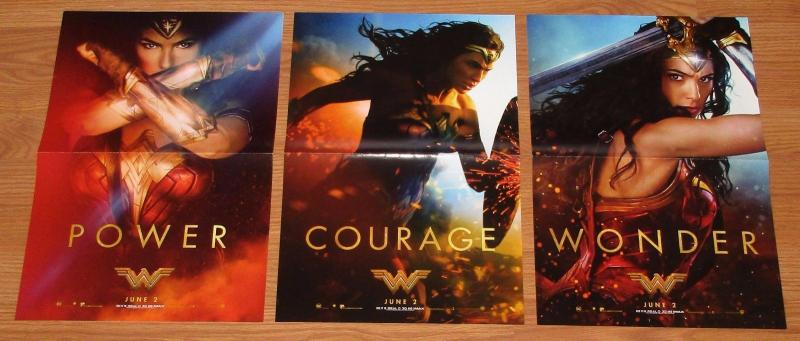 Wonder Woman Movie Folded Promo Poster Set of 3 Power Courage (11.5 x 17) New!