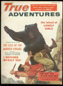 TRUE ADVENTURES SEPT 1955-WILD BEAR ATTACK COVER-1ST IS VF