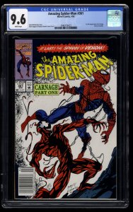 Amazing Spider-Man #361 CGC NM+ 9.6 White Pages Newsstand Variant 1st Carnage!