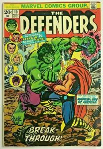 DEFENDERS#10 FN 1973 HULK VS THOR MARVEL BRONZE AGE COMICS
