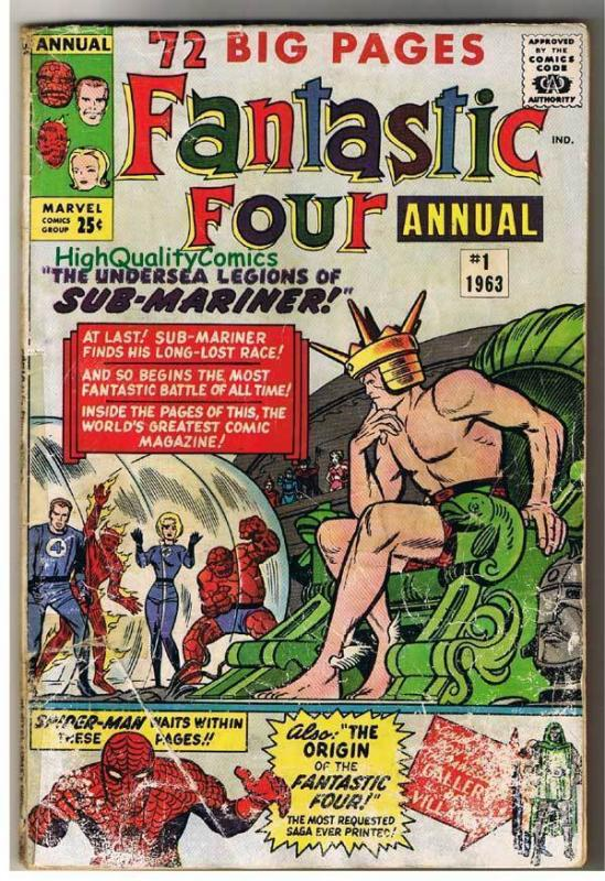 FANTASTIC FOUR #1 Annual, GD, Origin, Steve Ditko,Spider-man,1961, Silver age