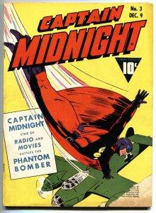 CAPTAIN MIDNIGHT #3 Classic Nazi War cover-Fawcett golden-age comic book