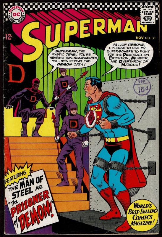 Superman #191 (Nov 1966, DC) FN-