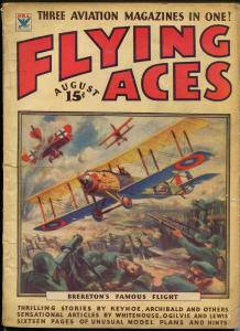 Flying Aces 8/1934- bedsheet edition-WWI aviation pulp thrills-rare-G